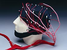 Made by Neuramedical supplies. The EEG cap detects brain activity by measuring electrical currents in brain cells.