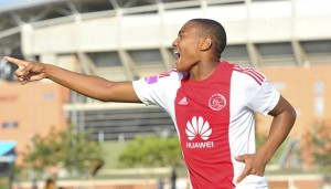 Prince Nxumalo of Ajax Cape Town celebrates his goal during the Absa Premiership match between Polokwane City and Ajax Cape Town at the Old Peter Mokaba Stadium in Polokwane, South Africa on February 20, 2016 ©Samuel Shivambu/BackpagePix